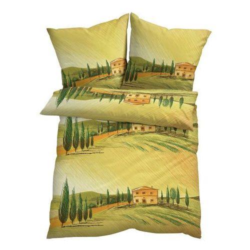 Bonprix Pościel z motywem krajobrazu toskanii zielony