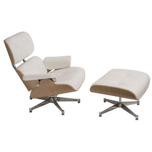 D2.design Fotel vip z podnóżkiem - srebrny ||biały ||natural oak (5902385723381)