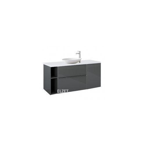szafka look 2s anthracite pod umywalkę nablatową + kontener + moduł otwarty + blat 140 white 167082+166996+167102+167046 marki Elita