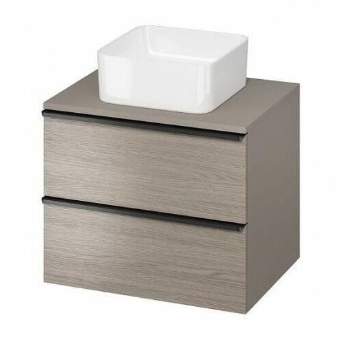 CERSANIT szafka Virgo 60 dąb szary pod umywalkę nablatową, czarne uchwyty S522-023, kolor dąb