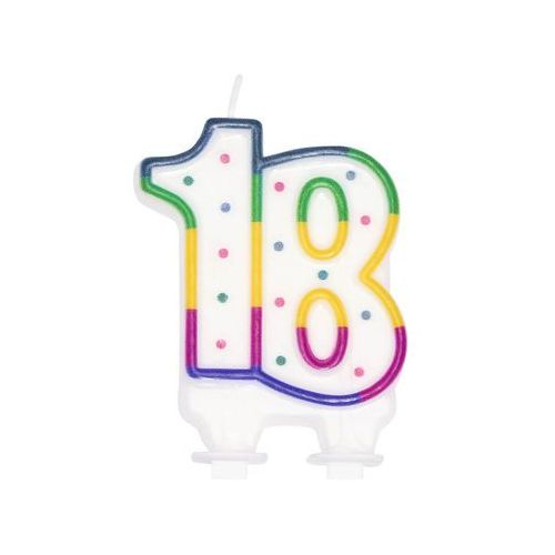 Świeczka na 18-tke kolorową obwódką i kropeczkami - 1 szt. (8712026310811)