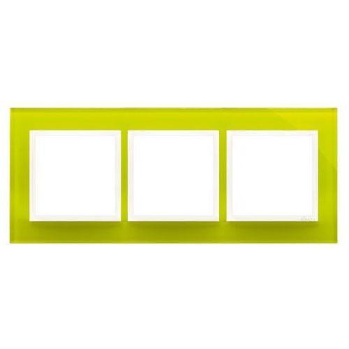 Ramka potrójna Simon 54 DRN3/90 szklana limonkowy sorbet Kontakt-Simon, kolor zielony