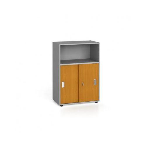 Szafa biurowa kombinowana, przesuwne drzwi, 1087 x 800 x 420 mm, czereśnia