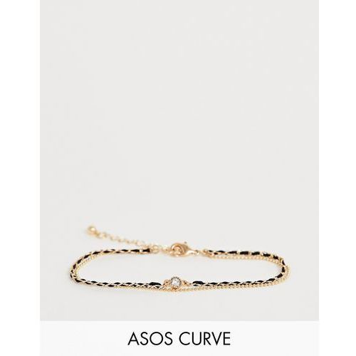 ASOS DESIGN Curve multirow bracelet with woven thread and delicate ball chain in gold - Gold