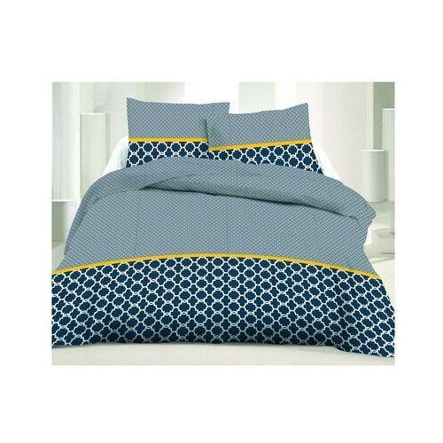 Pościel 100% bawełny lauris - 220x240 cm + 2 poszewki na poduszkę 65 x 65 - kolor niebieski i żółty marki Vente-unique