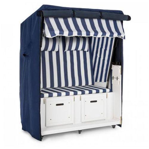 hiddensee kosz plażowy niebieski 2-miejscowy 118 cm osłona kółka transportowe marki Blumfeldt