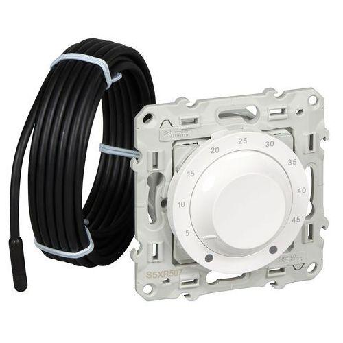 Termostat elektroniczny obrotowy z czujnikiem zewnętrznym odace s520507 biały marki Schneider