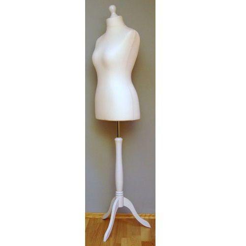 Manekin krawiecki - tors kobiecy krótki ecru - rozmiar 34 na drewnianym, białym trójnogu