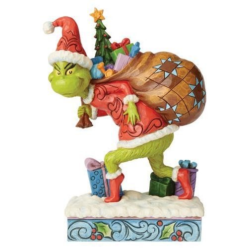 """Grinch z workiem prezentów """"Grinch Świąt nie będzie"""" Tip Toeing Grinch with Bag of Gifts Over Shoulder 6004062 Jim Shore"""