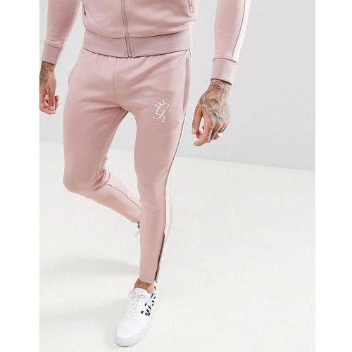 skinny poly joggers in pink with side stripe - pink marki Gym king