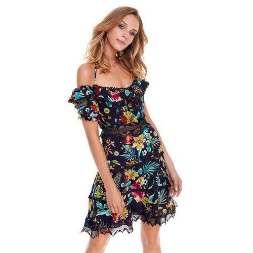 Sukienka Playa w kwiaty na granatowym tle