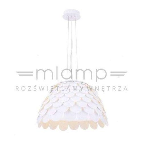 Modernistyczna LAMPA wisząca MIDI S Orlicki Design metalowa OPRAWA zwis łuski białe, MIDI S