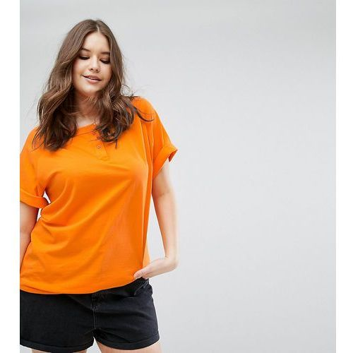 t-shirt with button neck in washed oversized fit - orange marki Asos curve