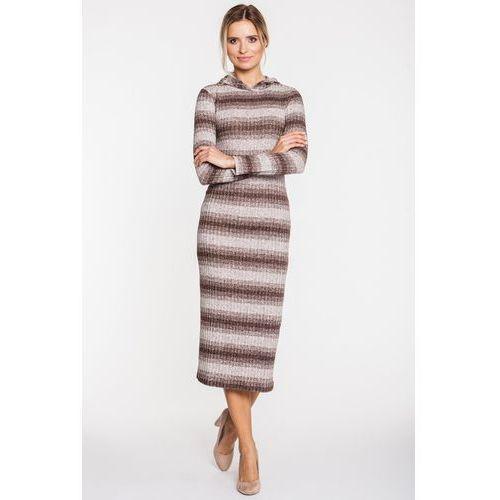 Sukienka w paski z prążkowanej dzianiny - Ryba, 1 rozmiar