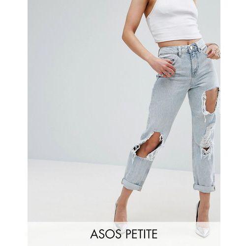 ASOS PETITE Original Mom Jeans in Missouri with Rips - Blue