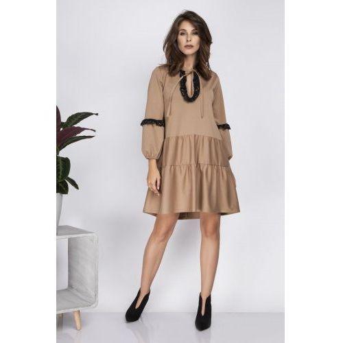 Luźna sukienka mini z koronką i wiązaniem przy szyi