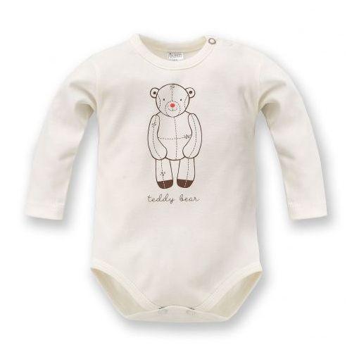 Body z pluszowym misiem (długi rękaw) - teddy bear / ecru, marki Pinokio