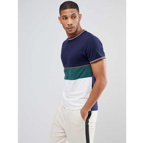 Bellfield T-Shirt In Colour Block With Knitted Cuffs - Multi, w 3 rozmiarach