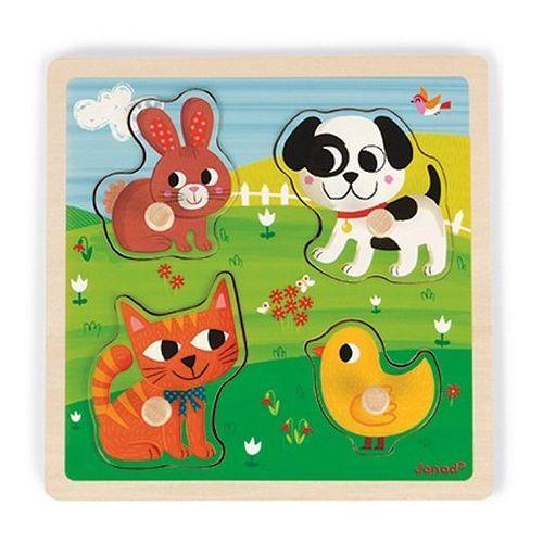Puzzle sensoryczne drewniane Janod - Moje pierwsze zwierzątka J07080, J07080