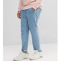 Only & sons plus tapered jeans with raw hem in stretch - blue