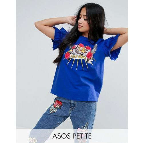 Asos petite  t-shirt with ruffle sleeve and mix and match motif - blue