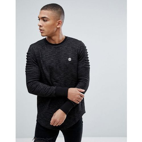 crew neck sweater with arm ruffles - black, Le breve