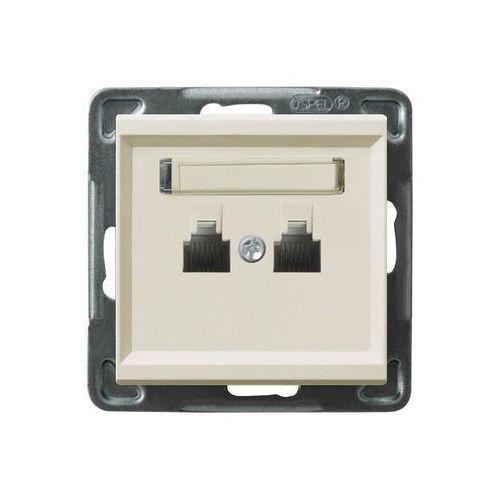 Ospel Gniazdo telefoniczne podwójne równoległe p/t, ecru gpt-2rr/m/27 sonata (5907577444990)