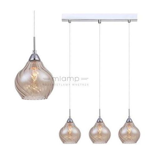 Italux Nowoczesna lampa wisząca temps mdm2171/3 b szklana oprawa sufitowa listwa chrom herbaciana (5900644404323)
