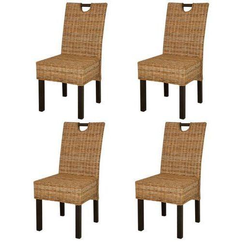 Krzesła do jadalni z kubu rattanu, drewno mangowe, 4 sztuki marki Vidaxl