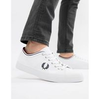 Fred perry kendrick canvas tipped cuff trainers in white - white