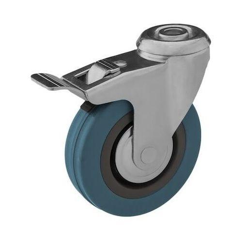 Koło fi 75 mm skrętne z hamulcem gumowe otwór 10,3 mm, 70 kg