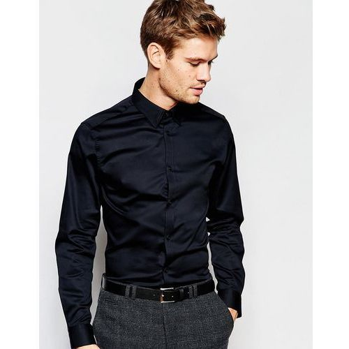 Selected Homme Shirt with Concealed Button Down Collar in Slim Fit - Black, kolor czarny