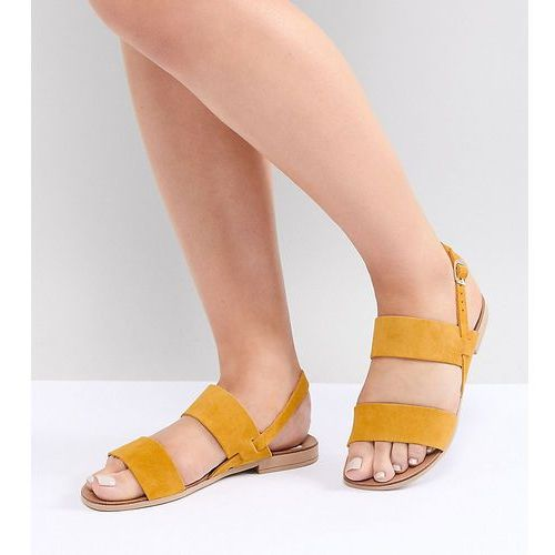 wide fit suede double strap flat sandals - yellow, New look