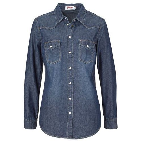 """Koszula dżinsowa, długi rękaw bonprix ciemnoniebieski """"stone"""", jeans"""