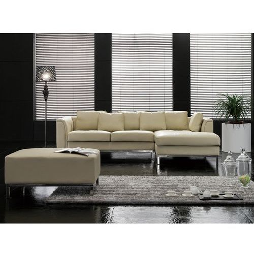 Nowoczesna sofa z pufą ze skóry naturalnej kolor beżowy l - kanapa oslo marki Beliani