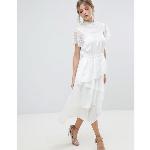 high neck lace midi dress with asymetric hem - white, Y.a.s, 34-42