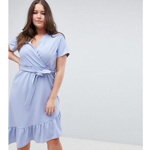 ASOS DESIGN Curve midi dress with belt and frill detail - Blue, 1 rozmiar