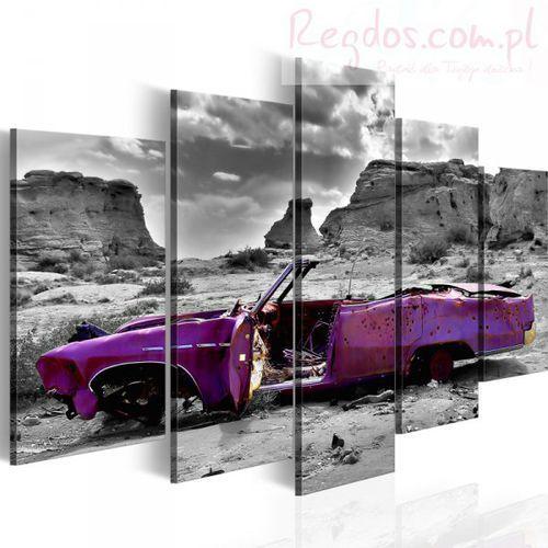 Obraz - samochód w stylu retro na pustyni kolorado - 5 części od producenta Artgeist