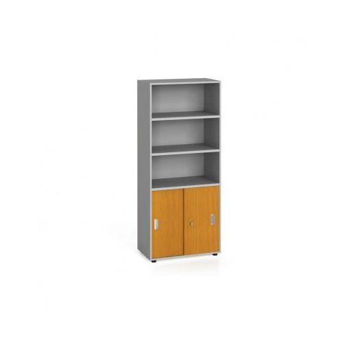 Szafa biurowa, przesuwne drzwi na 2 półki, 1781 x 800 x 420 mm, czereśnia marki B2b partner