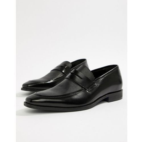 penny loafers in black etched leather - black, Pier one