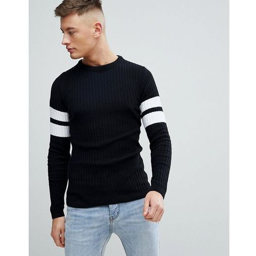 Boohooman muscle fit ribbed jumper with arm stripe in black - black