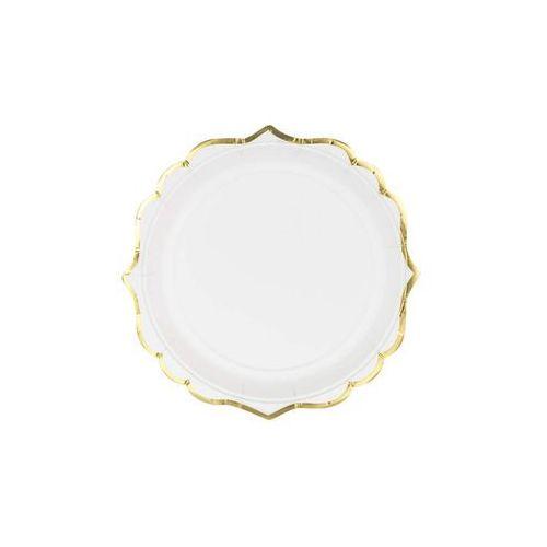 Talerzyki białe ze złotymi brzegami - 18 cm - 6 szt. marki Party deco