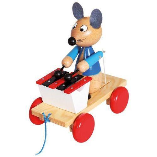 Drewniana zabawka z ksylofonem pociągnij za mysz marki Bino