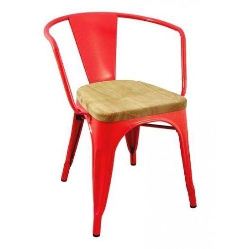 Krzesło metalowe, siedzisko drewniane TOWER ARM WOOD czerwone - jesion, metal, kolor czerwony