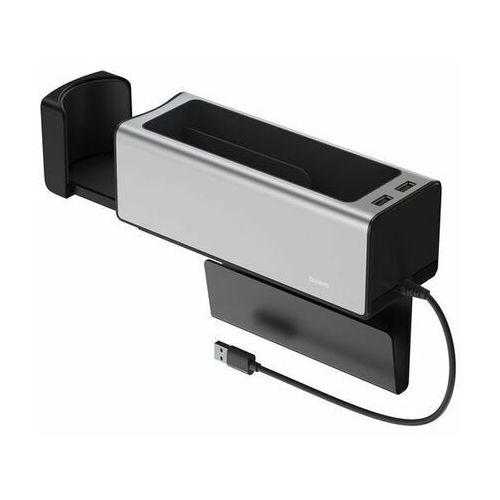 Baseus armrest console | uchwyt organizer samochodowy z portami 2x usb - srebrny (6953156223783)