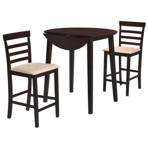 Vidaxl Stół i krzesła barowe, lite drewno, ciemnobrązowe
