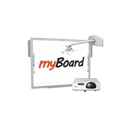 """Zestaw! tablica silver 84""""c + epson eb-530 z uchwytem ściennym myboard bw120s + okablowanie 10 m (230v, hdmi) + głośniki amp-32 marki Myboard"""