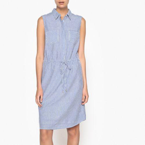 Rozszerzana sukienka bez rękawów, w paski