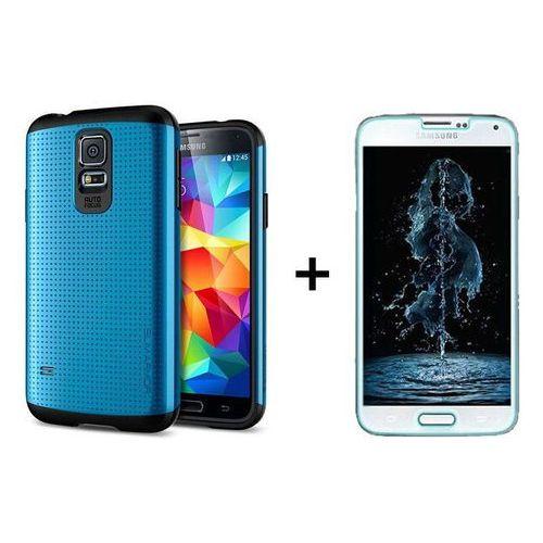 Zestaw   Spigen SGP Slim Armor Electric Blue + Szkło ochronne Perfect Glass dla modelu Samsung Galaxy S5 / S5 Neo