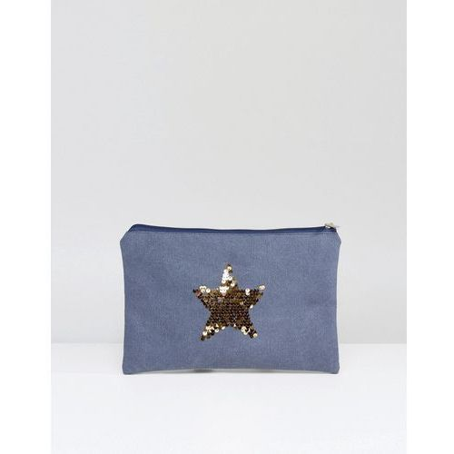 South beach washed blue clutch bag with gold star - blue